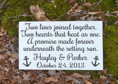 Beach Wedding Sign Personalized - Two Hearts Joined Together Two Hearts That Beat As One