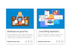 Onboarding cards for a borderless web desktop.  Design MaterialUp