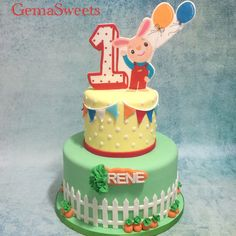 Harry the bunny inspired cake by Gema Sweets. Bunny Birthday Cake, 1st Birthday Party Themes, Boy First Birthday, Harry The Bunny, Olivia Grace, First Birthdays, Bunnies, Rooms, Life