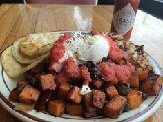 Ladybird Diner - Sweet Potato Black Bean Hash with corn tortillas. #Lawrence Kansas