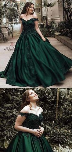 1fb31057950 Gorgeous Dark Green Off Shoulder Ball Gown Prom Dresses With Lace