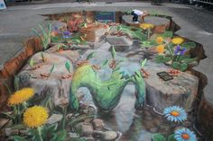 Ants : a colony of leaf-cutter ants builds a bridge in Buenos Aires.~Street Artist; Julian Beever
