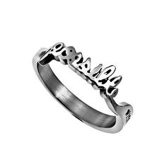Hand Writing Bible Verse, Possible Matthew 19:6 Ring, Stainless Steel