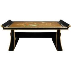 "Unique Asian Furniture - 40"" Shinto Oriental Bench Coffee Table / Flat Display Stand"