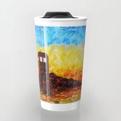 twilight British Phone booth Travel mug #travelmugs #tardis #doctorwho #painting #art #starrynight #autumn #twilight #phonebooth #phonebox