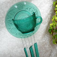 Sandwich Glass Wind chime Vintage Tea cup by WindchimesAndWhatnot, $25.00