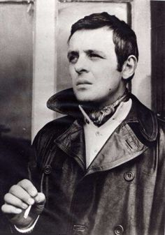 Young Anthony Hopkins in a Black Leather Coat