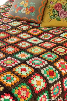 Vintage Home Shop - Colourful Autumn Patchwork Crochet Throw with Tapestry Cushions: www.vintage-home.co.uk