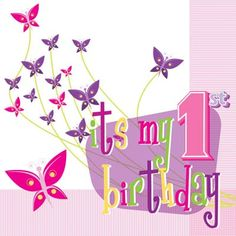 1st Birthday Butterflies Napkins - Luncheon