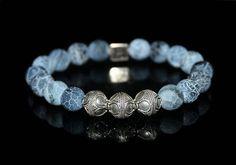 Men's Bracelet Blue Crackled Agate and Sterling Silver