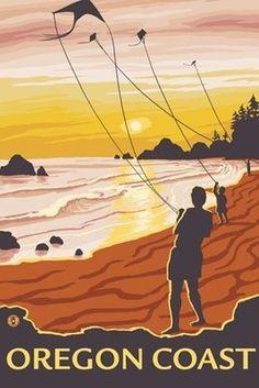 Oregon Coast US vintage travel poster  flying kites on the beach