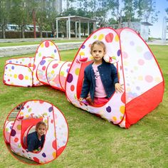 EocuSun Polka Dot Folding Kids Play Tent with Tunnel Ball Pit and Zippered Storage Bag ** You can get more details by clicking on the image.  sc 1 st  Pinterest & Portable Kids Outdoor / Indoor Game Play Children Toy Tent Ocean ...
