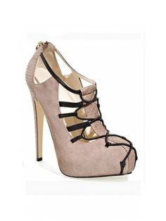 I love this take on the nude heel. I'd try a lacey dress that is short and tight....show those curves and legs!