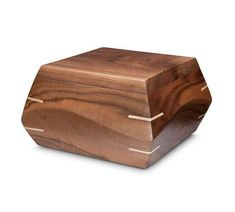 This beautiful handmade walnut wood cremation urn is modern and sculpted by hand. It has a contemporary look but feels warm and elegantly simple. Since they are handmade, no two are alike. Cremation Boxes, Cremation Urns, Wenge Wood, Walnut Wood, Wooden Box Designs, Pet Urns, Woodworking Joints, Woodworking Ideas, Bottle Painting