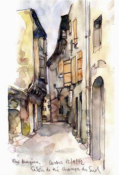 Urban Sketchers: Castres & Montpellier. Jenny Adam sketch