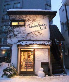 Brown Books Cafe in Sapporo Design Café, Cafe Design, Store Design, Bar Restaurant, Restaurant Design, Cafe Bar, Cafe Concept, Cozy Cafe, Sapporo