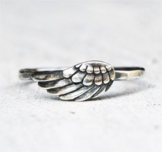 Sterling Silver Angel Wing - Feather Ring - Hammered Band - Gift For Her - Christmas - Gift For Teen