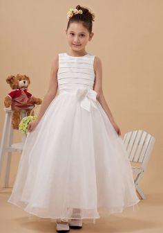 A-line Floor-length White Taffeta& Organza Flower Girl Dresses/ First Communion Dress DIB122045