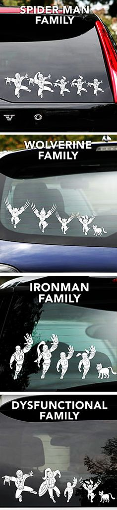 Hahaha ok so IF I ever become one of those minivan soccer moms I refuse to use the stick people. My family will represent the marvel super heroes :)