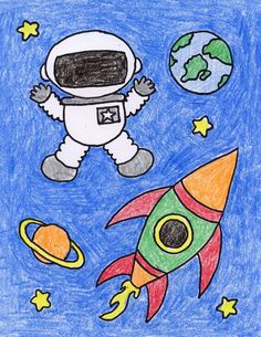 Draw an Astronaut - Art Projects for Kids A simple astronaut drawing can be made from just a few basic shapes. Add a space ship and planets and you have a fun drawing. Easy Art Projects, Projects For Kids, Space Drawings, Art Drawings, Painting For Kids, Art For Kids, Kids Fun, Painting Art, Astronaut Drawing