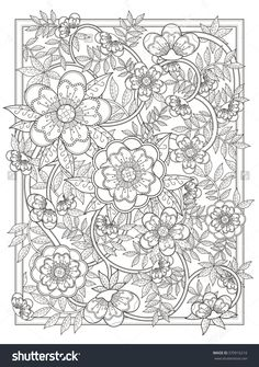 Floral Coloring Books for Adults Retro and Elegant Floral Coloring Page In Exquisite Line Free Adult Coloring, Adult Coloring Book Pages, Cute Coloring Pages, Flower Coloring Pages, Mandala Coloring Pages, Printable Coloring Pages, Coloring Books, Paisley Coloring Pages, Colorful Drawings
