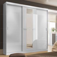 Guarda-roupa 3 Portas de Correr Allegro Flex Color Com Espelho Branco/Branco/Azul - Carraro | Lojas KD