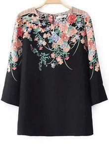 Black Three Quarter Length Sleeve Florals Print Blouse