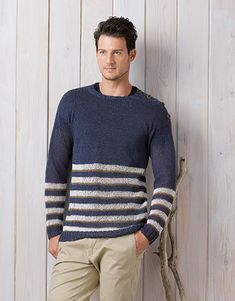 pattern knit crochet man sweater spring summer katia 5969 23 g Mens Knit Sweater, Knit Baby Sweaters, Blue Sweaters, Sweaters For Women, Pull Bleu, Bodybuilding Clothing, Crochet Cardigan Pattern, Knit Crochet, Summer Books