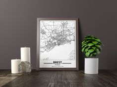 Excited to share the latest addition to my #etsy shop: Brest map print, Minimalistic wall art poster, France gifts, Birthday Gift, For father, Father Black And White Wall Art, Black And White City, Black And White Posters, Bathroom Artwork, Artwork Prints, Poster Prints, Fathers Day, Father Father, Birthday Gifts