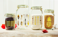 Luxe Canisters  Sunrise Canisters  #coffee #tea #sugar #gold #metallic #canister #kitchen #organize #pineapple #triangles #chevron #utensils
