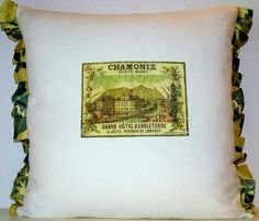 Chamonix Vintage French Linen Coussin Cushion Pillow Silk Luggage label £20 Free Shipping