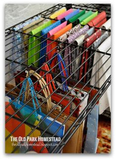 gift bag organization - I love this and the tissue paper organization