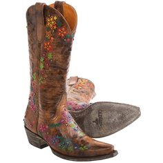 Old Gringo Sozey Cowboy Boots ❤ liked on Polyvore featuring shoes, boots, cowgirl boots, floral cowboy boots, multi color boots, brown cowboy boots and brown cowgirl boots