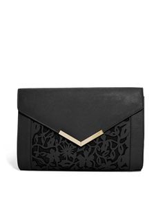 Image 1 of ASOS Floral Laser Cut Clutch Bag