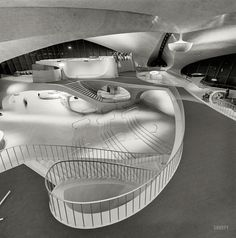 Circa 1964. Trans World Airlines Terminal. Idlewild Airport, Queens, New York. Acetate negative by Balthazar Korab (1926-2013), Hungarian-born architectural photographer who documented the work of Eero Saarinen.