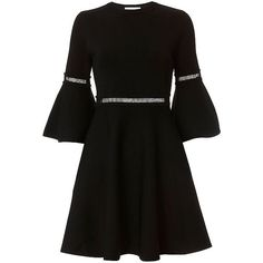 Carven Bell Sleeve Fit And Flare Dress (9.600.940 IDR) ❤ liked on Polyvore featuring dresses, fit and flare dress, bell sleeve dress, fit flare dress and flared sleeve dress