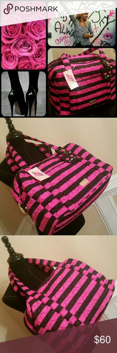 """Betsey Johnson Quilted Weekender or Diaper Bag Awesome Betsey Johnson Quilted Weekender or Diaper Bag in Black and Hot Pink! 17"""" Length x 13"""" Depth x 8"""" Height. Quilted Hearts. Gold Tone Hardware. Two comfy handles. Parisian Style Black and White Striped Interior. One exterior slip pocket. Two interior slip pockets, zippered pocket, and 3 pen holders. Cotton and Polyester. Adorable Kitty Fob!!! Betsey Johnson Bags"""