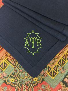 Pavilion Signature Colour monogrammed linen napkins. Bellalino.com