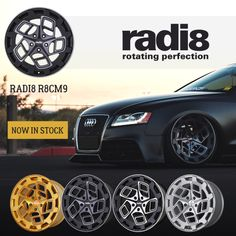 radi8 r8cm9 THE WAIT IS OVER!! Our radi8 r8cm9 are now in stock and available to order Worldwide from our global network of radi8 dealers. Available finishes; Matte Silver / Machined Black / Machined Dark Mist 'Limited Edition' Brushed Gold. Please contact your local radi8 Wheel dealer for more info. radi8 wheels.