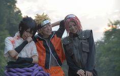 Naruto Shippuden Cosplay: Sasuke Uchiha, Naruto Uzumaki, Sakura Haruno