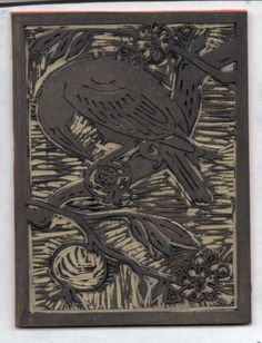 """there's a crow in the pomegranate tree!"" - Linocut - MBVarley 2012 #original, #art"