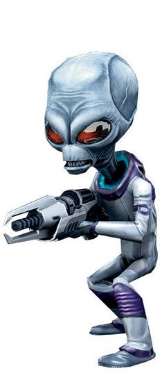 """This is """"Crypto"""" from the """"Destroy All Humans"""" game series. His character design is very simple,yet very iconic to the typical """"Roswell Grey Aliens"""" idea. I really like how they stuck to that idea, because as soon as you look at him, you know he's an alien, and he's also very memorable."""