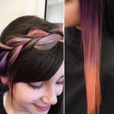 A gradient splash of colour is fun to play with when spicing up a braid, curls or high bun, there are lots of creative ways to style hair when you have a little colour in your life. Salon Services, High Bun, Coloured Hair, Color Blending, Gradient Color, Color Splash, Hairdresser, Melbourne, Curls