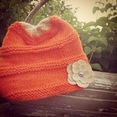 Orange blossom hat by Knitbuds on Etsy