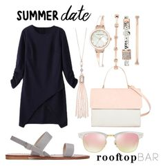 """Date Night"" by rosiemgarcia ❤ liked on Polyvore featuring WithChic, Eddie, Ray-Ban, Oasis, Anne Klein, summerdate and rooftopbar"