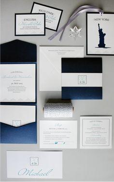#Hochzeitseinladung: in blau & weiß (edel) #Einladungskarten