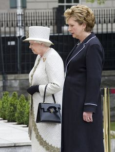 Irish President Mary McAleese and Queen Elizabeth II lay a wreath at Dublin Memorial Garden on May 17, 2011 in Dublin, Ireland. The Duke and Queen's visit is the first by a monarch since 1911. An unprecedented security operation is taking place with much of the centre of Dublin turning into a car free zone. Republican dissident groups have made it clear they are intent on disrupting proceedings.