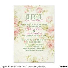 """elegant Pink  rose Floral vintage  wedding invite 5"""" X 7"""" Invitation Card"""