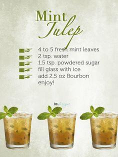 Mint Julep recipe( Drink of Kentucky Derby) Cocktails, Cocktail Drinks, Fun Drinks, Yummy Drinks, Cocktail Recipes, Alcoholic Drinks, Beverages, Kentucky Derby Drinks, Cheers