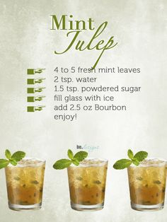 Mint Julep in Honor of the Kentucky Derby-I intend to host a Kentucky Derby party one of these days with all the Southern belles adorned in their finest hats!   :)